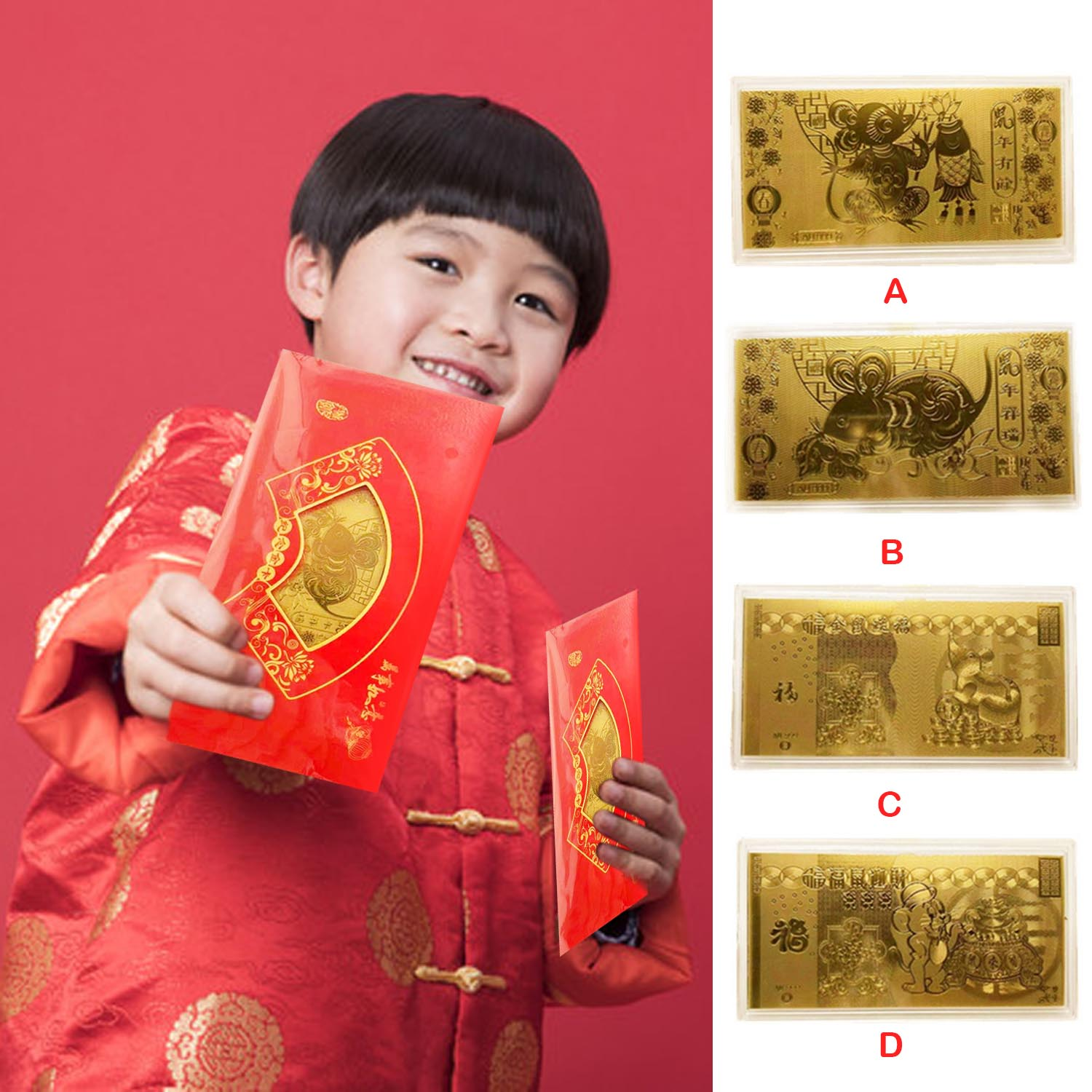 Lucky Envelopes Hong Bao Festival Money Packets With Gold Foil Banknote For 2020 Lunar New Year Spring Festival Supplies