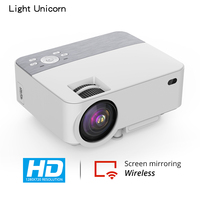Light Unicorn T2 LED MINI Projector HD, 1280x720p support 1080P FHD Wired Wireless Sync Display Android & IOS phone 3D projector