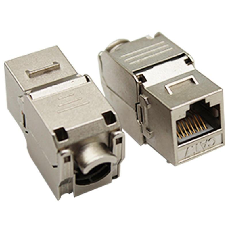 10PCS/Lot RJ45 Cat7 Shielded FTP Zinc Alloy Module 10GB Network Keystone Jack Connector Adapter Cat7 Rj45