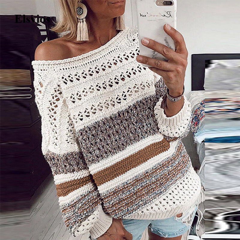 Elsvios Women Hollow Out Knitted Sweater Sexy Off Shoulder Striped Patchwork Pullover Autumn Winter Long Sleeve Tops Pull Femme