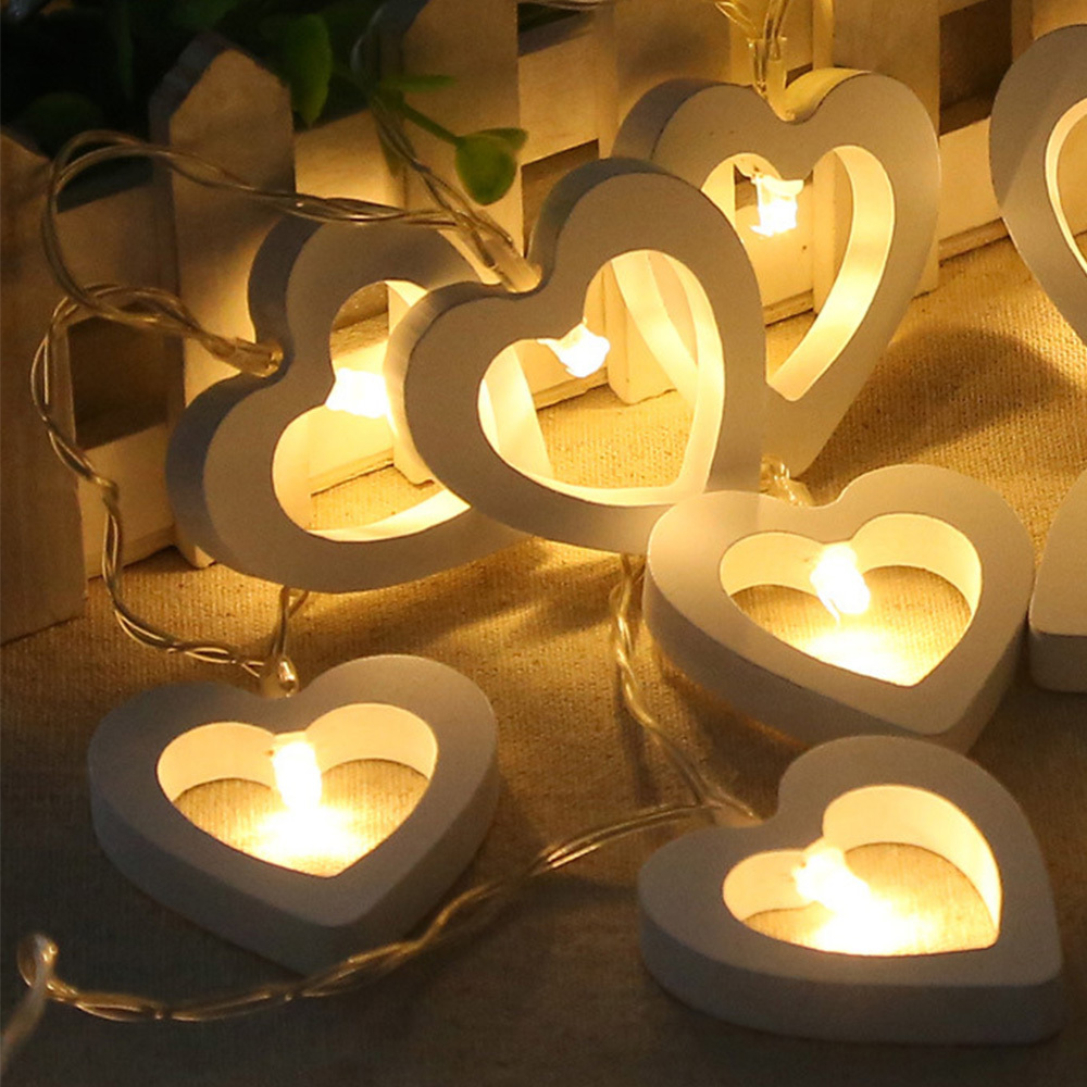 1.2m Led Lamp String Wooden Love Shape Night Light Lamp Garland Lamp Home Wedding Birthday Party Decor