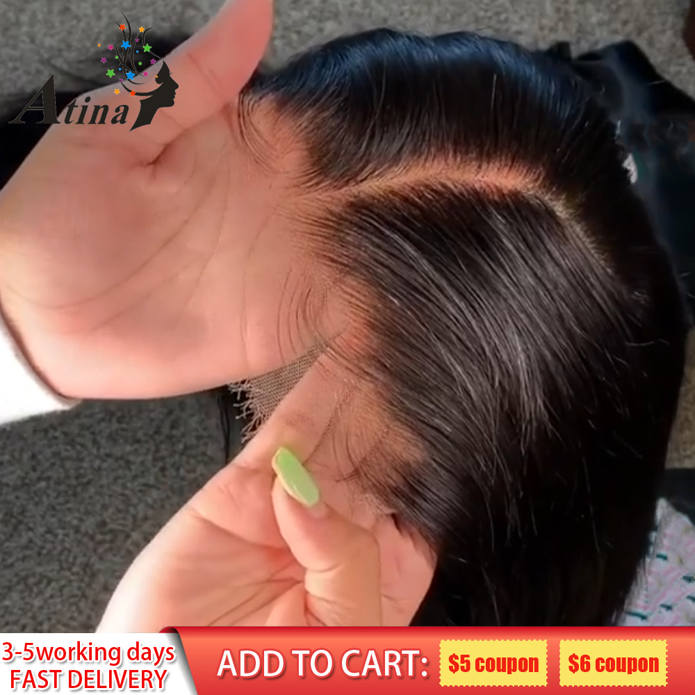 13X6 Hd Lace Front Human Hair Wig Straight Invisible Transparent Lace Wigs Atina Undetectable Full Frontal Wigs Remy Pre Plucked