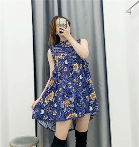 Image 4 - Винтажное шикарное женское пляжное богемное мини платье с цветочным принтом и оборками, женское платье без рукавов из искусственного хлопка в стиле бохо, платья
