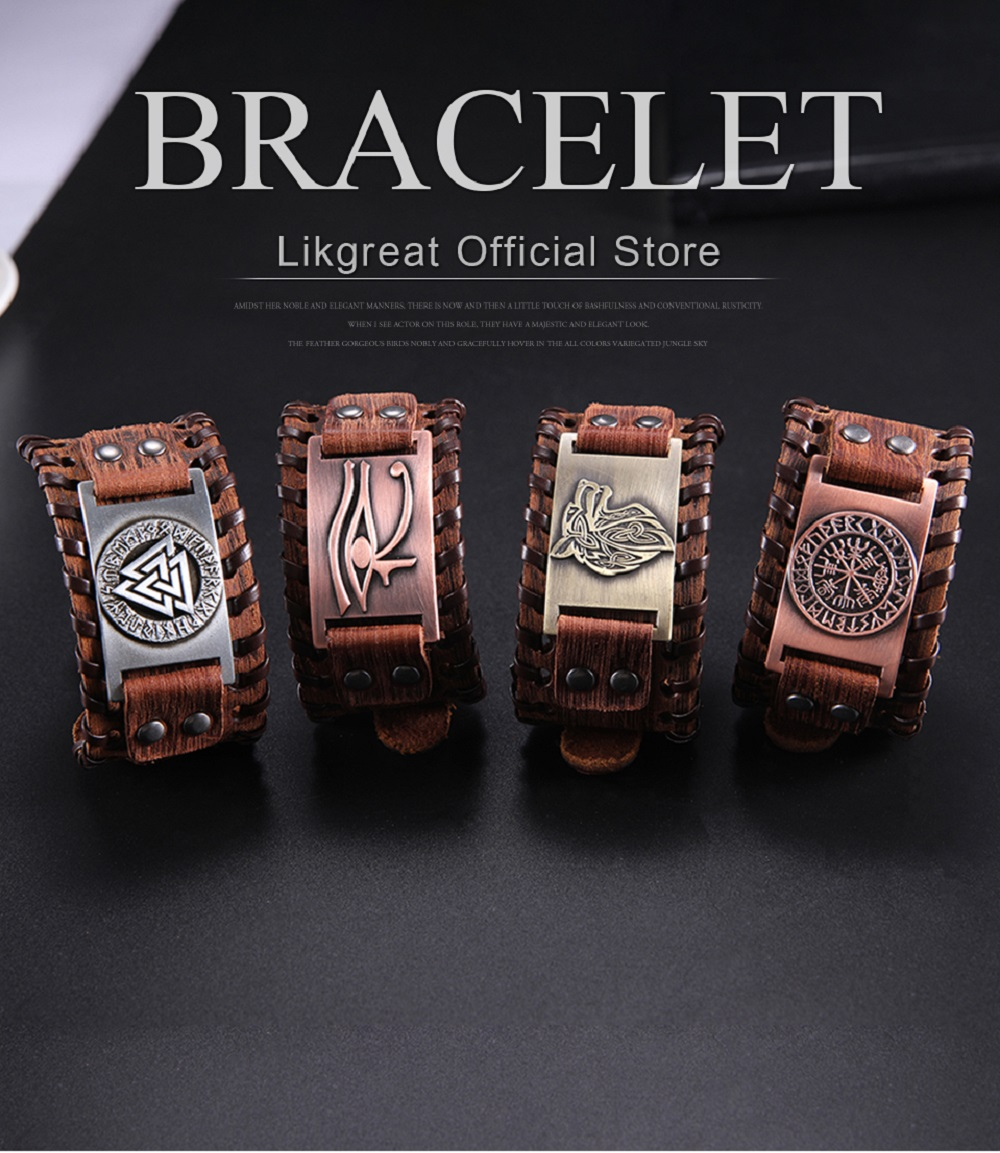 Vintage Punk Style LIKGREAT Norse Runes Vikings Wolf Sigil Pendant Rope Necklace for Men