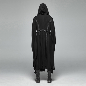 Image 3 - PUNK RAVE Mens Punk Retro Dark Japanese Long Jacket Stripe Metal Buckle Decoration Large Sleeves Loose Hooded Trench Coat