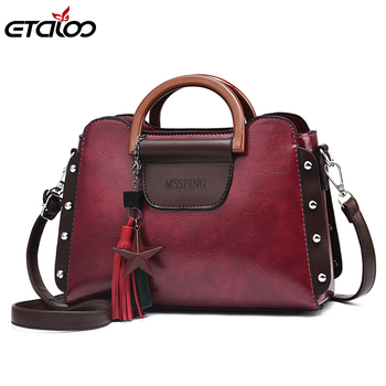 2020New Fashion Luxury Women PU Leather Handbags Vintage Rivet Tassel Messenger Bag for Female Ladies Shoulder Womens