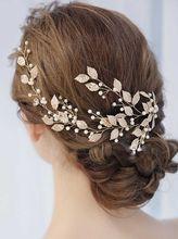 Diadema Vintage de hojas y flores para novia, tocado bohemio con perlas de cristal, para el cabello enredadera, flores, Halo, accesorios para el cabello de boda