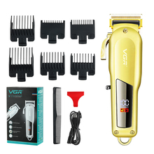VGR LCD Display Digital Electric Hair Clipper Professional Barber Hair Cutting Machine Recharge Cordless Hair Trimmer For Men