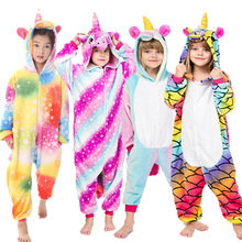 Пижама с единорогом; комбинезон с капюшоном с животными; детский зимний фланелевый спальный мешок в стиле аниме для девочек и мальчиков; Пижама с пандой для детей 4-12 лет