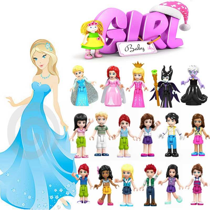 Legoing Friends Girls Toys For Children Mulan Princess Belle Anna Cinderella Figures Prince Blocks Model Elsa Beast Legoings Set