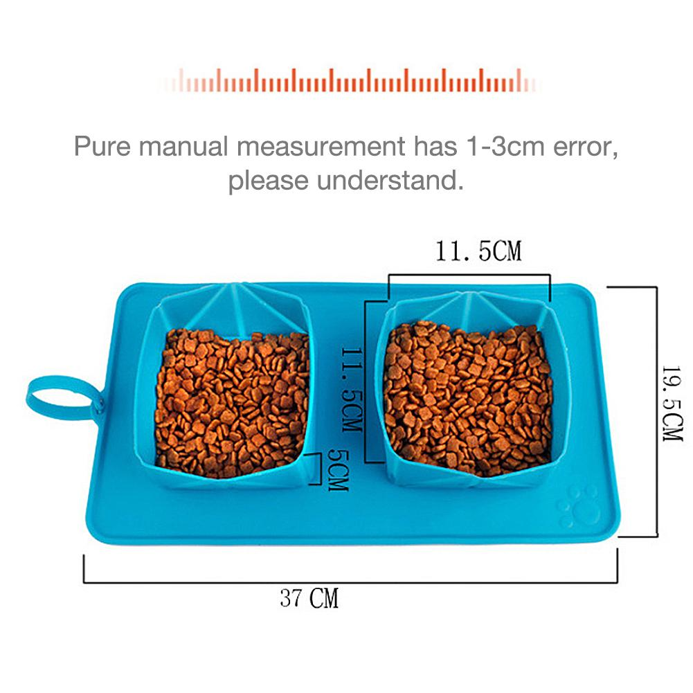 2PCS Magic Pet Dog Cat Drink Water Food Mat Foldable Easy To Store Silicone Mat Travel OutDoor Dog Feeding Double Bowl Carpet in Houses Kennels Pens from Home Garden