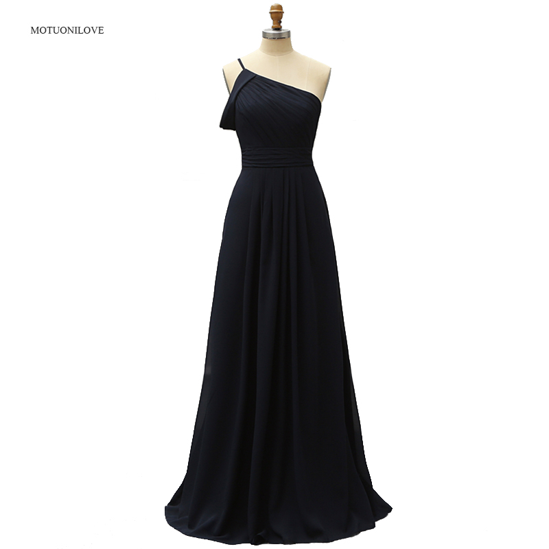 One Shoulder Navy Blue 2019 New Cheap Bridesmaid Dresses Long Ruched Wedding Guest Dress Maid Of Honor Dress Custom Made Zipper