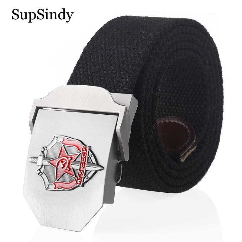 SupSindy Man Canvas Belt 3D Soviet Glory KGB Metal Buckle Jeans Belts For Men CCCP Army Military Tactical Belts Male Strap Black