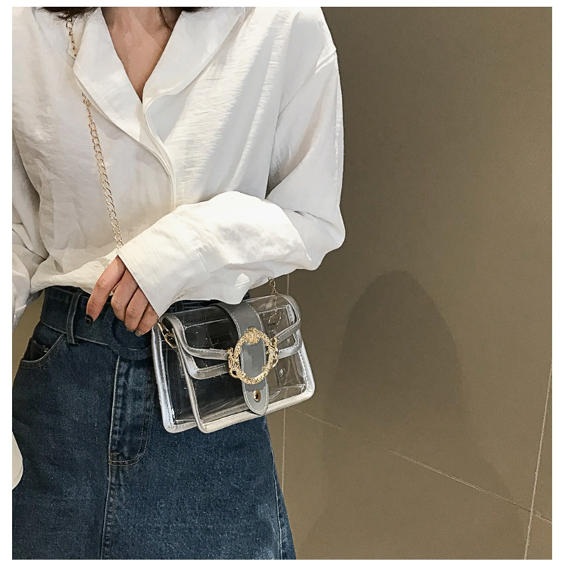 Women Shoulder Bags Summer PVC Transparent Clear Bag Clutch Chain Tote Jelly Bag Handbag  /BY