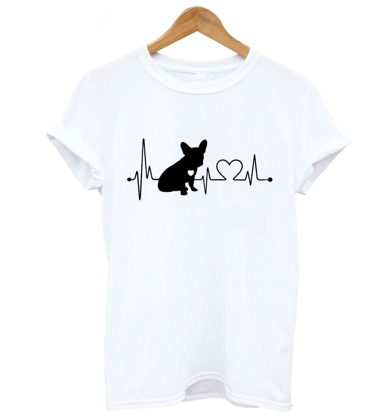 French Bulldog Heartbeat Lifeline Print Women T Shirt Hipster Lady Short Sleeve T-shirt Female Casual Top