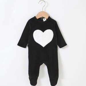 Romper Overall Pyjamas Footies Heart-Star Girl Baby Kids Long-Sleeves Children Boy