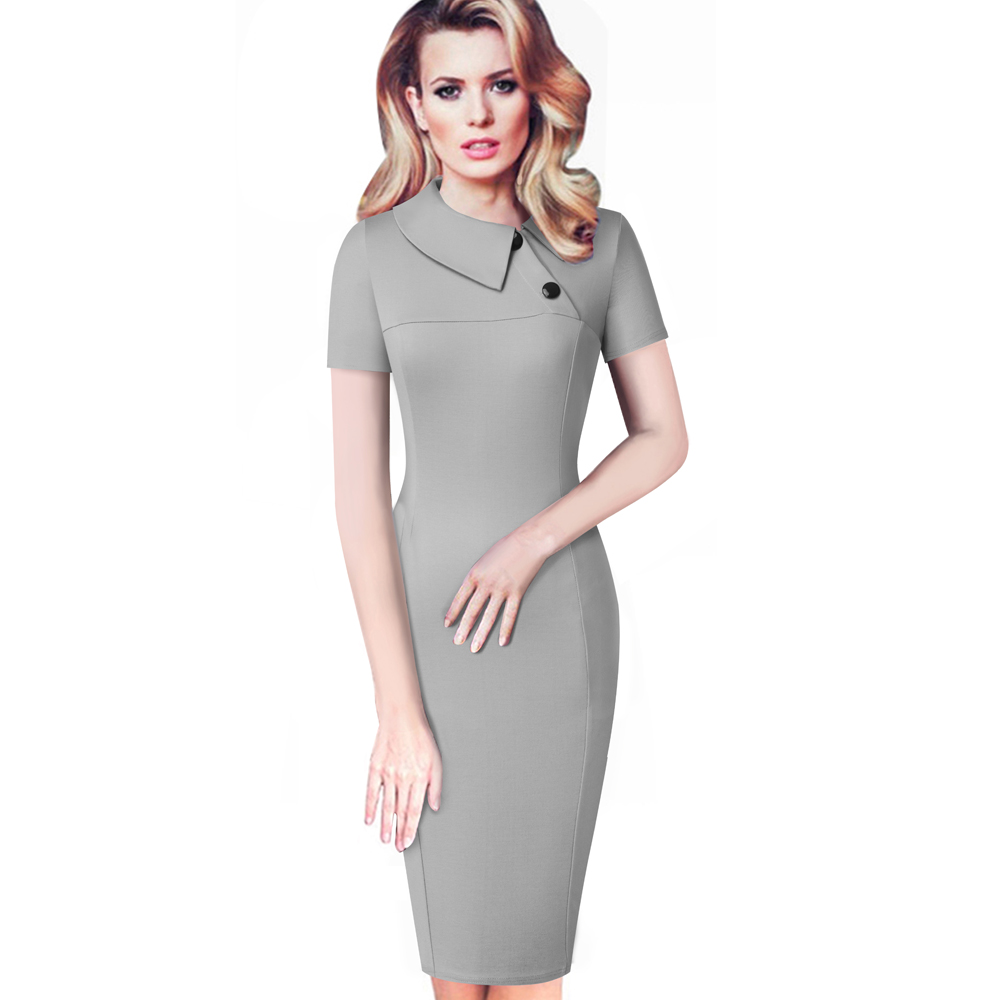 Elegant  Work Office ruched short Sleeve Sheath business party Women dress B496