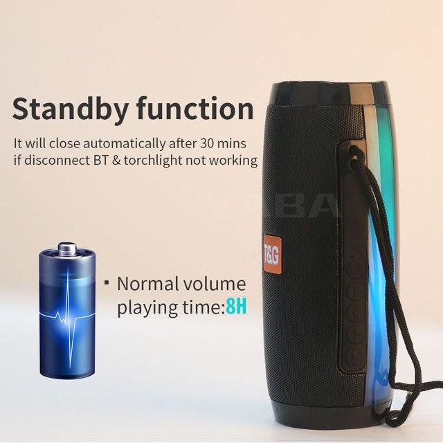 Portable Speaker Bluetooth-compatible Column Wireless  Speaker Outdoor Bass HIFI TF FM Radio soundbar with LED caixa de som 3
