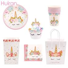 Unicorn Pattern Plates Cups Napkins Tableware Set Kids Unicorn Birthday Disposable Party Tableware Decorative Unicorn Decoration(China)