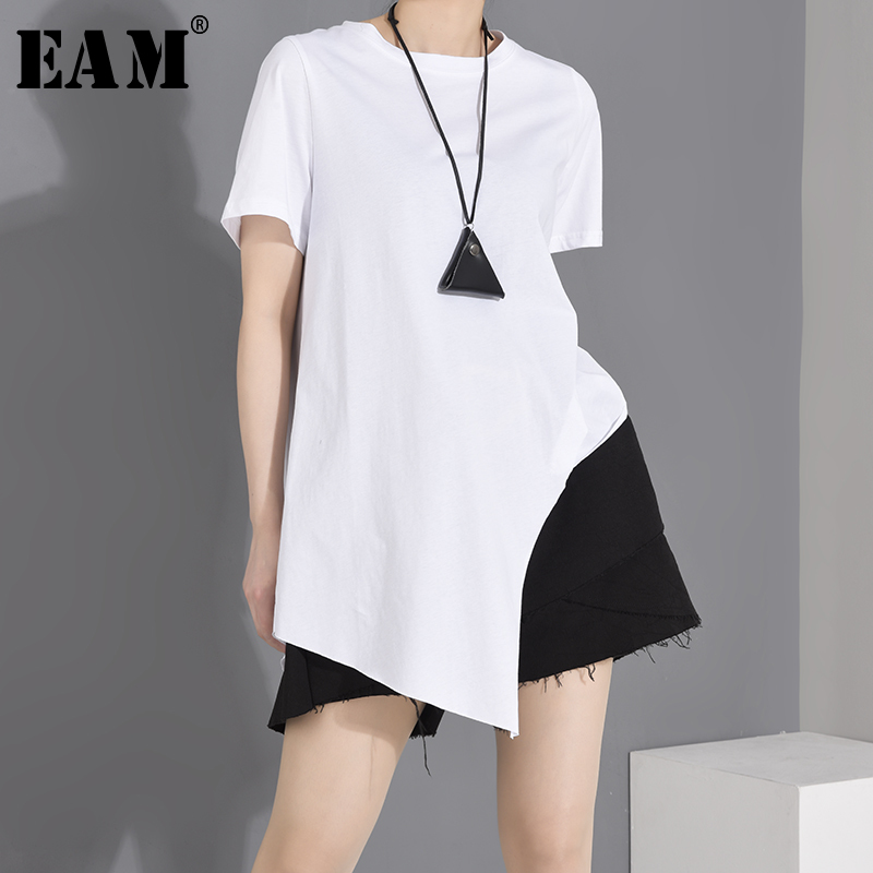 [EAM] Women White Irregular Split Joint Brief T-shirt New Round Neck Short Sleeve  Fashion Tide  Spring Summer 2020 1W63701 1