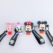 Stylish Silicone Keychains Cute Creative Action Figures Mickey Key Chains Men And Women Car Bags Pendant Accessories Rings