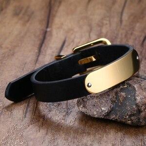 Image 4 - Vnox Mens Free Custom Engraving Name Love Date Inspirational Messages Black Genuine Leather Bracelets Bangles Size Adjustable