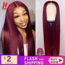 HairUGo — Perruque de cheveux naturels brésilien, lace frontal avec closure 4x4, Remy Hair, raide et lisse, pré-emballé, 99J, 13x4