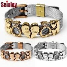 SEIALOY нержавеющая сталь сетки бренды браслеты для женщин мужчин Европа Шарм серебро Lucky часы цепочка браслет на запястье ювелирные изделия подарок