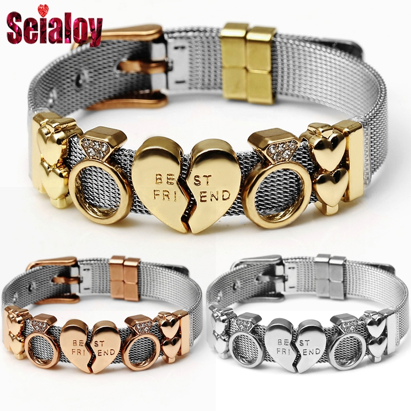 SEIALOY Stainless Steel Mesh Brands Bracelets For Women Men Europe Charm Silver Lucky Watch Chain Bracelets Bangle Jewelry Gift