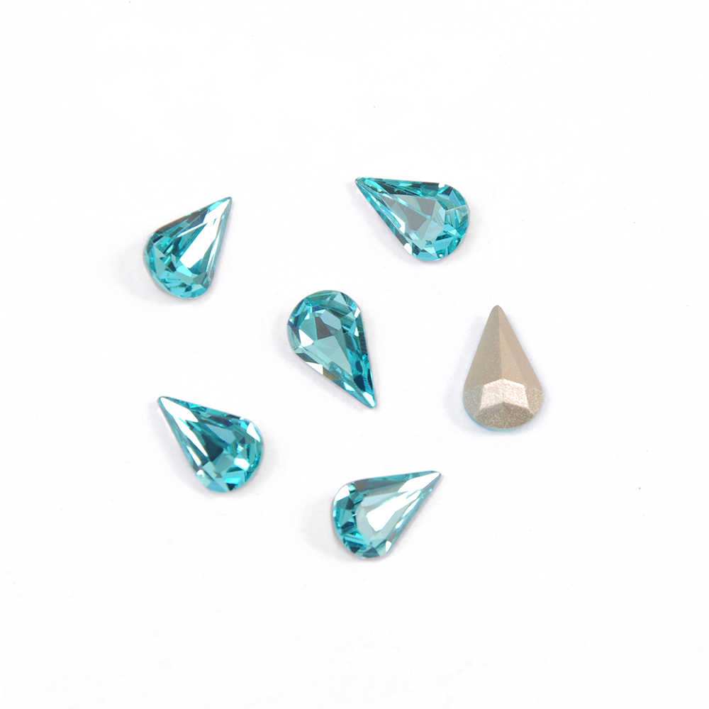 CTPA3bI 4300 Pear Shaped 202 Aquamarine Blue Fancy Beads Rhinestones Crystal Strass Needlework Natural Bead For Jewelry Making