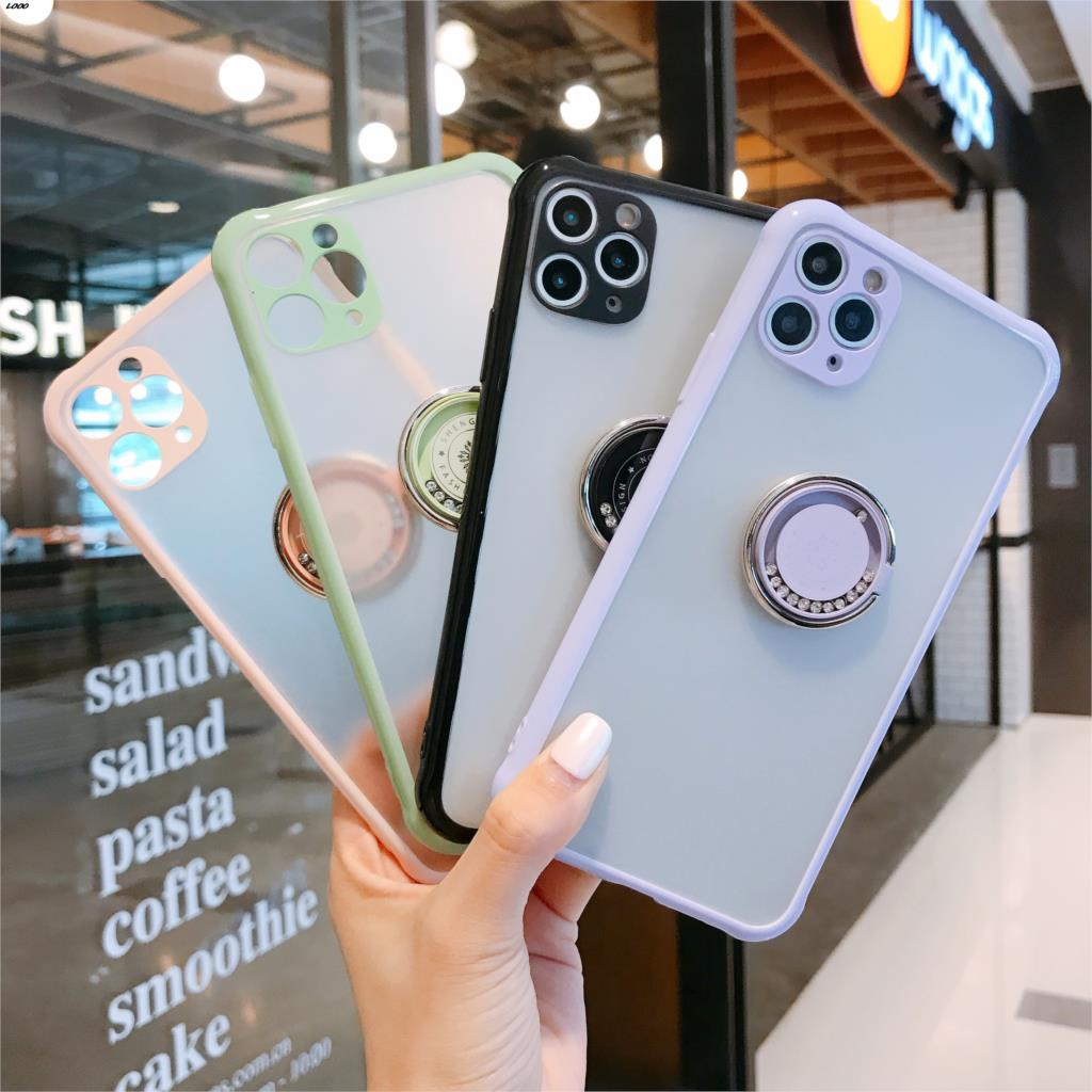 Fashion Luxury Support Logo Ring bracket Transparent Matte Phone Case for IPhone 11 Pro Max SE2020 8 Plus X XR Xs Max image