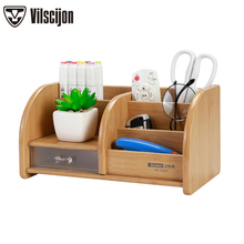 New Fashion Cosmetics Storage Bag Multi-function Wooden Pen Holder Desk Box Office Supplies Stationery Vilscijon C2031