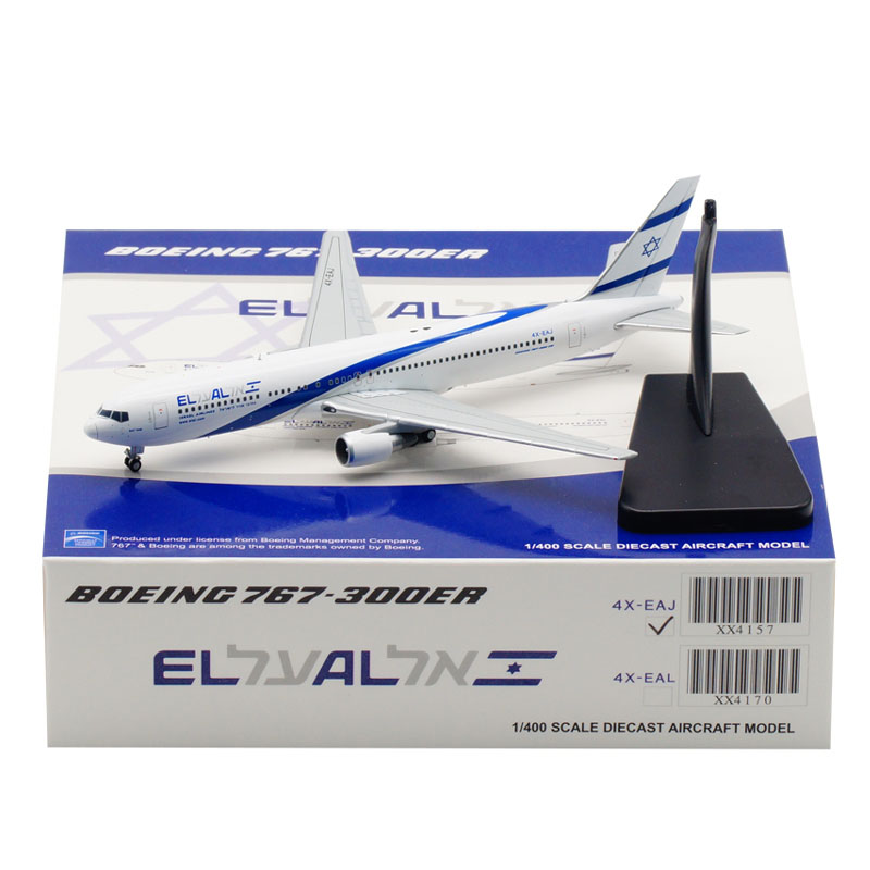 1:400 Air ISRAEL Airline EL AL airplane Boeing 767 B767 model with base landing gear alloy aircraft plane toy for collection image