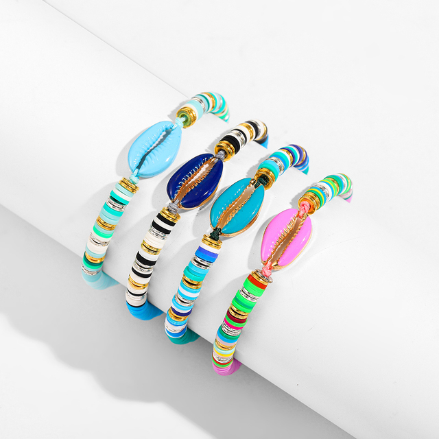 Bohemian Multilayer Big Beads Crystal Evil Eyes Bracelets for Women Fashion Statement Shell Charm Bracelet Boho Jewelry Gift 6