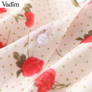 Image 5 - Vadim women sweet floral print blouse long sleeve turn down colllar shirt female causal cute fashion tops blusas LB357