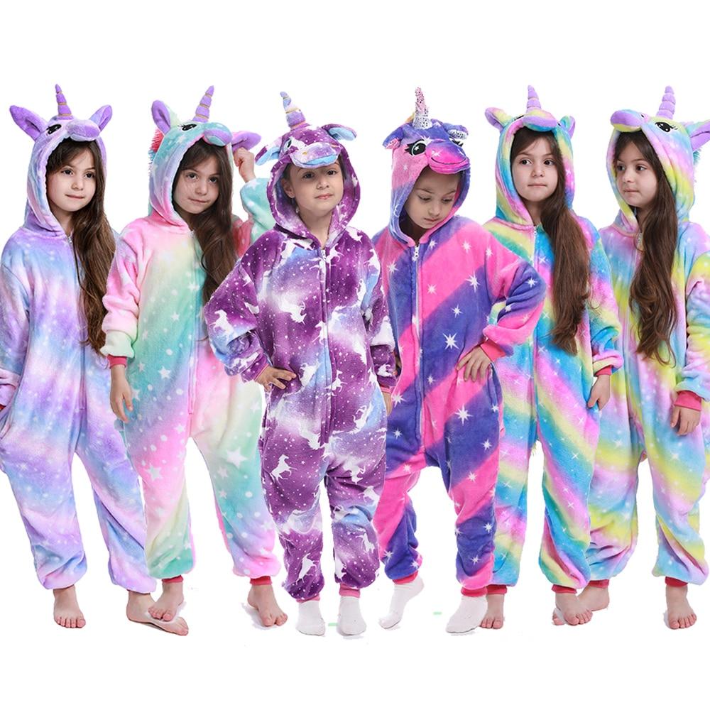 Flannel Unicorn for Kids Pajamas Boys Girls Sleepwear Children Panda Jumpsuit Kids oneises for Licorne Jumpsuit
