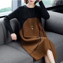 Plus Size M-4XL Women Pullover Round Neck Long Sleeves Knit Dress