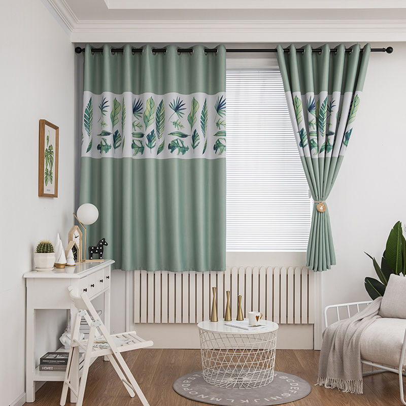 New Leaves Print Blackout Curtains Short For Bedroom Living Room Elegant Green Grommet Panel Children S Curtains Window Top Room Curtains Aliexpress