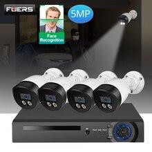 FUERS sistema de vigilancia NVR POE, 8 canales, cámara de 5MP, H.265, videovigilancia, impermeable, para exteriores, sistema de seguridad, videovigilancia, HDMI