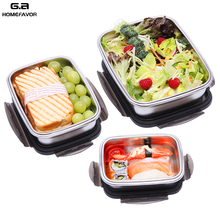 3 Pcs Lunch Box Stainless Steel 304 Bento Box Fresh Food Containers Outdoor Kitchen Snack Fruit Storage Box