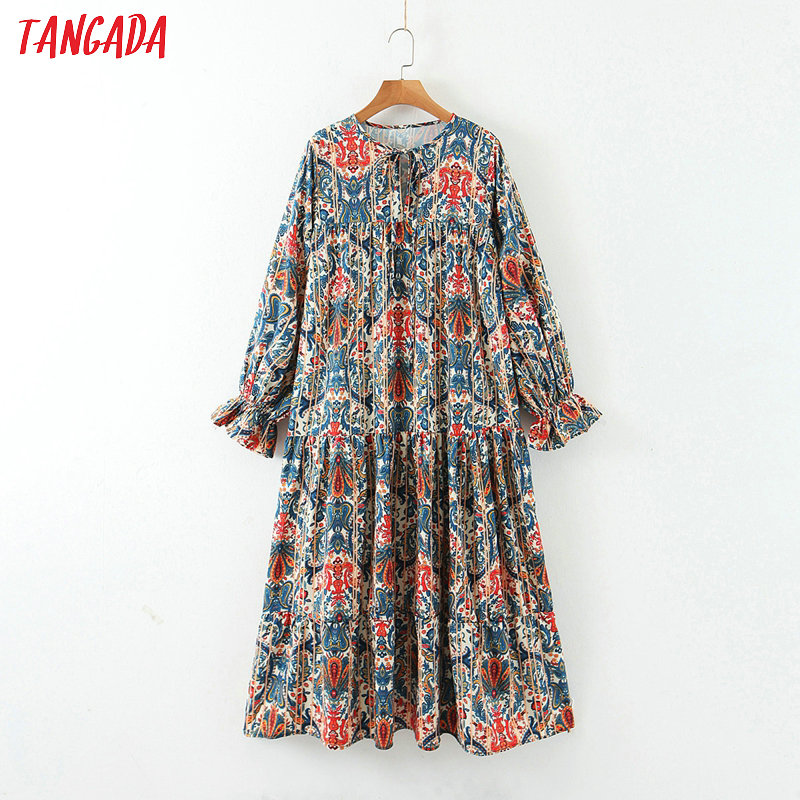 Tangada 2020 Fashion Women Boho Style Flowers Print Midi Dress Long Sleeve Ladies Vintage Bow Tie Dress Vestidos 3Z04
