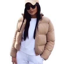 Women Winter Short Parkas Fashion Down Cotton Jacket Black Solid Standard Collar