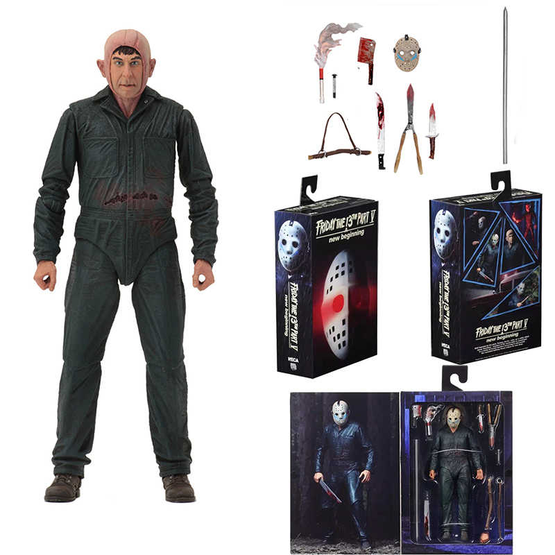 Original NECA Friday the 13th Jason Parte Final 5 Roy Queimaduras Action Figure Collectible Modelo Toys Dolls Presente