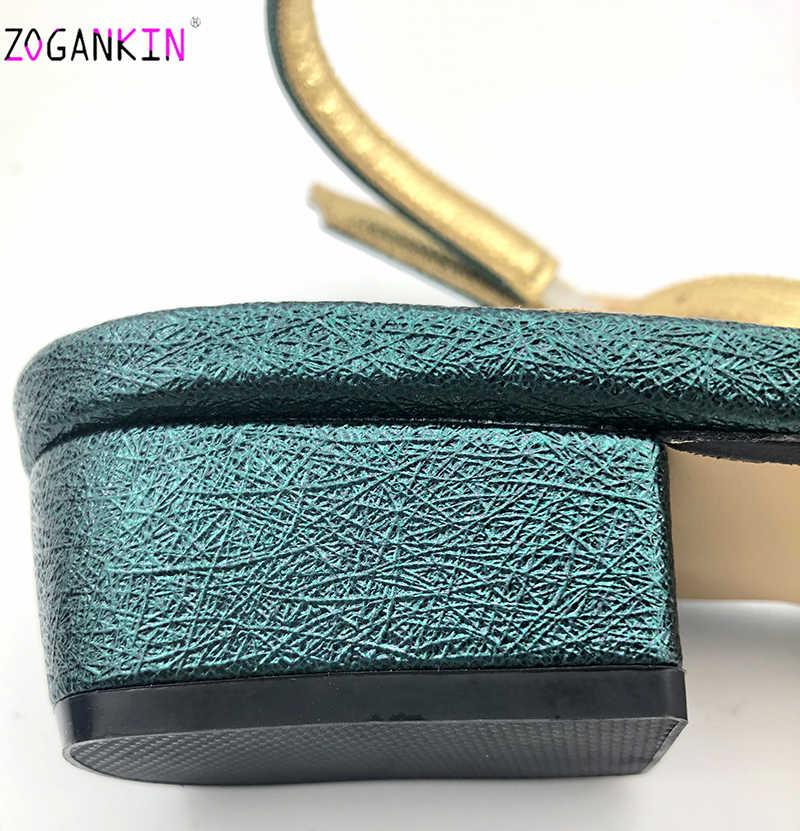 Ultimo Disegno Africano Sandali con i Sacchetti di Corrispondenza Set Decorato con Strass Nigeriano Peep Toe Scarpe per le Donne Del Partito Pompe