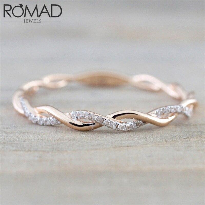 ROMAD Twist классические кольца с фианитом, обручальные кольца для женщин, подарок, роскошные Австрийские кристаллы, ювелирные изделия, кольца д...