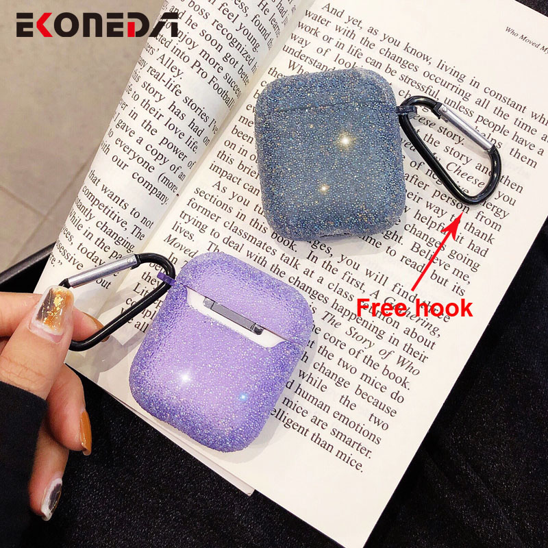 EKONEDA Bling Luxury Diamonds Case For Airpods Case Silicone Soft Candy Color Girly Case For Apple Airpods 2 Protective Cover