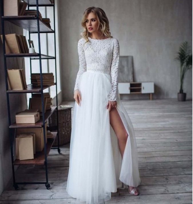 Side Boho  Gowns Sleeves Wedding Brides Slit Beach With Women Bohemian Dress 2020 For Bridal Length Floor Gorgeous Charming