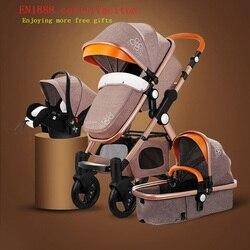 Frete grátis carrinho de bebê maior terra-scape golden baby 3 em 1 portátil dobrável carrinho de bebê 2 em 1 carrinho de luxo