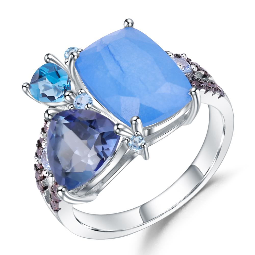 GEM'S BALLET Natural Aqua Blue Calcedony Geometric Rings 925 Sterling Silver Gemstone Finger Ring For Women Jewelry Free Style
