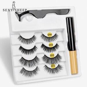 Image 1 - 4pairs Magnet Eyelash Magnetic Liquid Eyeliner& Magnetic False Eyelashes & Tweezer Set Waterproof Long Lasting Eyelash Extension